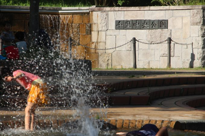 噴水広場やローラーすべり台のある自然いっぱいの公園、「千里中央公園」へ行って来ました。